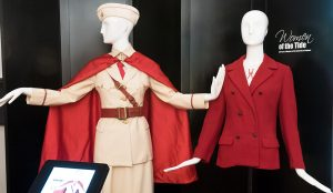 two mannequins wearing crimson fashion