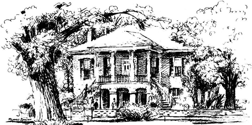 pencil sketch of Gorgas House